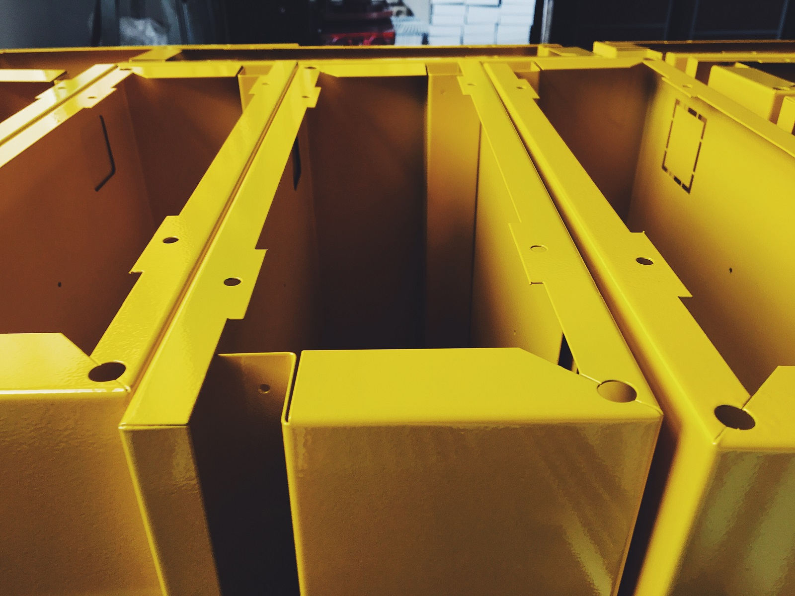 yellow gloss powder coated industrial components